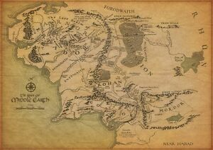 THE-MAP-OF-MIDDLE-EARTH-Lord-Of-The-Rings-POSTER-30X21cm-Home-Art-Print-Decor