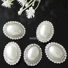 5 PCS CLEAR RHINESTONE IVORY PEARL SILVER OVAL SHANK BOTTONS SEWING CRAFT