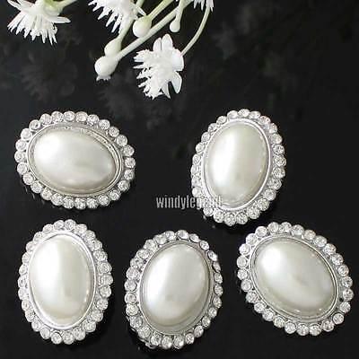 5 Stück Silber Klar Strass Blume Elfenbein / Cream Faux- Perlen Ösenknöpfe