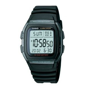 Casio Men's Quartz Illuminator Digital Alarm Black Resin 36mm Watch W96h 1bv