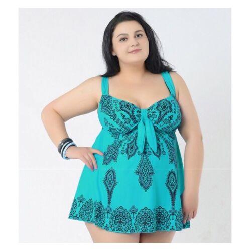 Womens Ladies Plus Size Swimming Costume Swimsuit Swimwear Swimdress Swim Curve