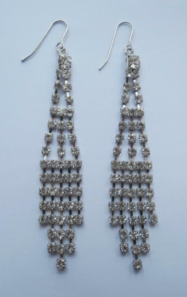 BN Vintage 1980's Silver-Tone & Diamanté Long Dangly Earrings on Wires Deadstock