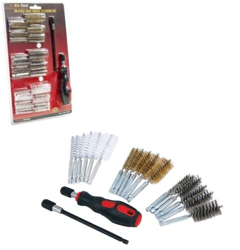 20pc Wire Brush Cleaning Kit Set Metal Remover Dust Rust Brass