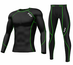 FDX-Mens-Compression-Armour-Base-layer-Top-amp-legging-running-under-arm-Skin-Fit