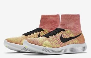 timeless design f0372 55fca Details about Nike LunarEpic Flyknit Womens Running Shoes Pink Yellow Volt  6 9.5 Vanishing Fit