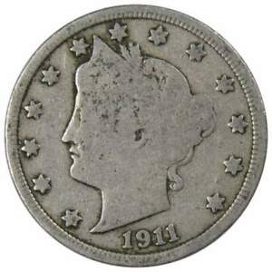 1911 Liberty Head V Nickel 5 Cent Piece G Good 5c US Coin Collectible