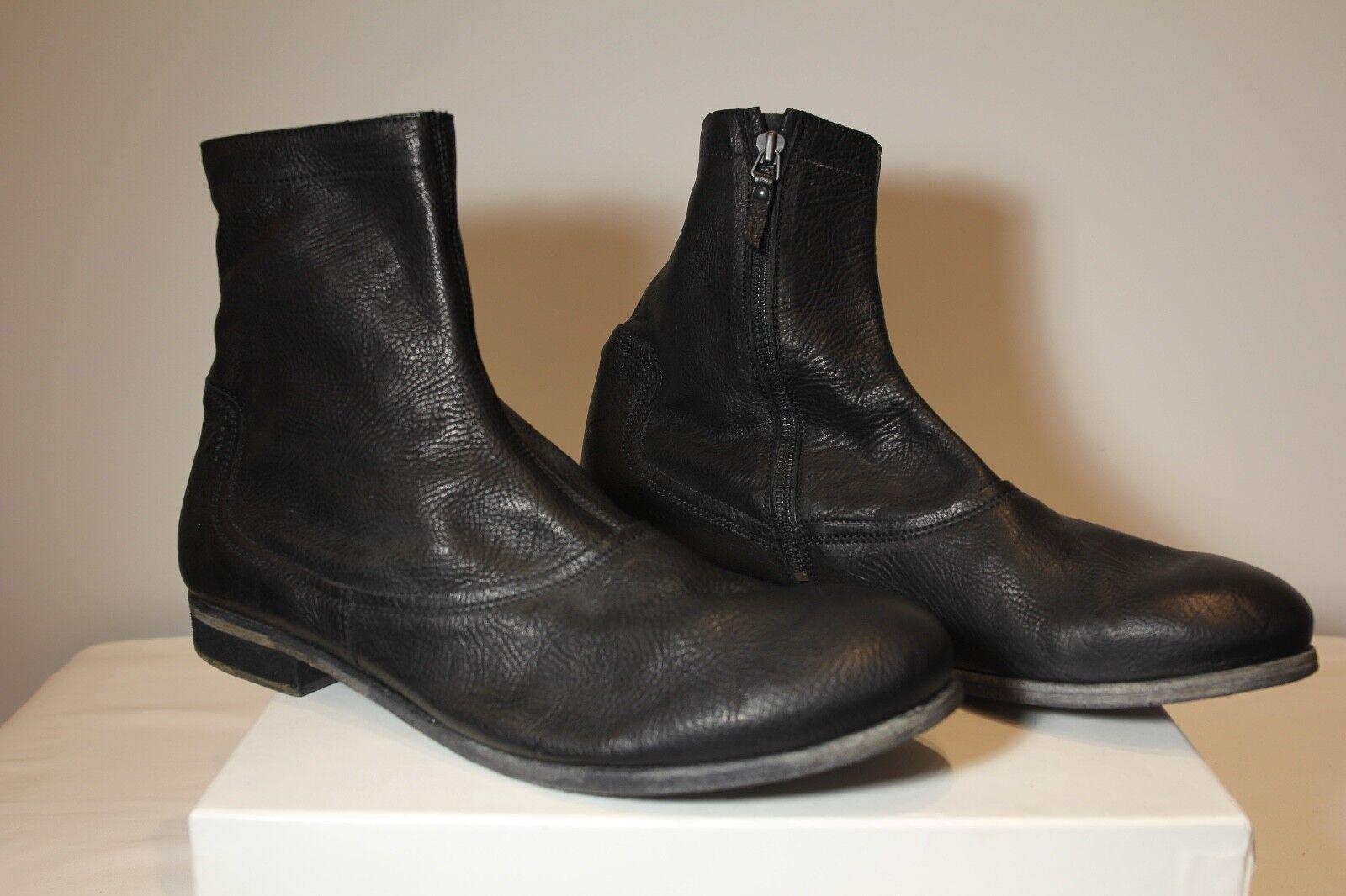 AUTHENTIC Akejohn Men's nero Calfskin Leather Ankle stivali Dimensione Euro 44