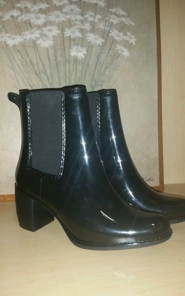 Jeffrey Campbell Brillante Negro Stormy Tacón Alto botas De Lluvia Talla 9
