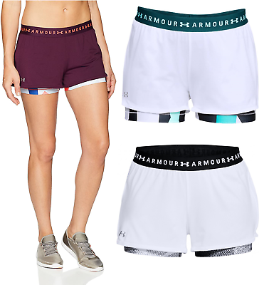 New Under Armour UA Women/'s Heat Gear 2 in 1 Printed Sports Gym Shorts