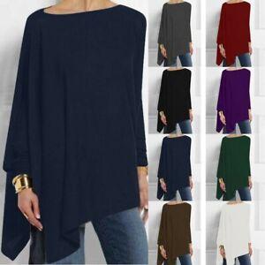 Women-Pure-Color-Long-Sleeve-Irregular-Hem-Sweatshirt-Loose-Pullover-Tops-Blouse