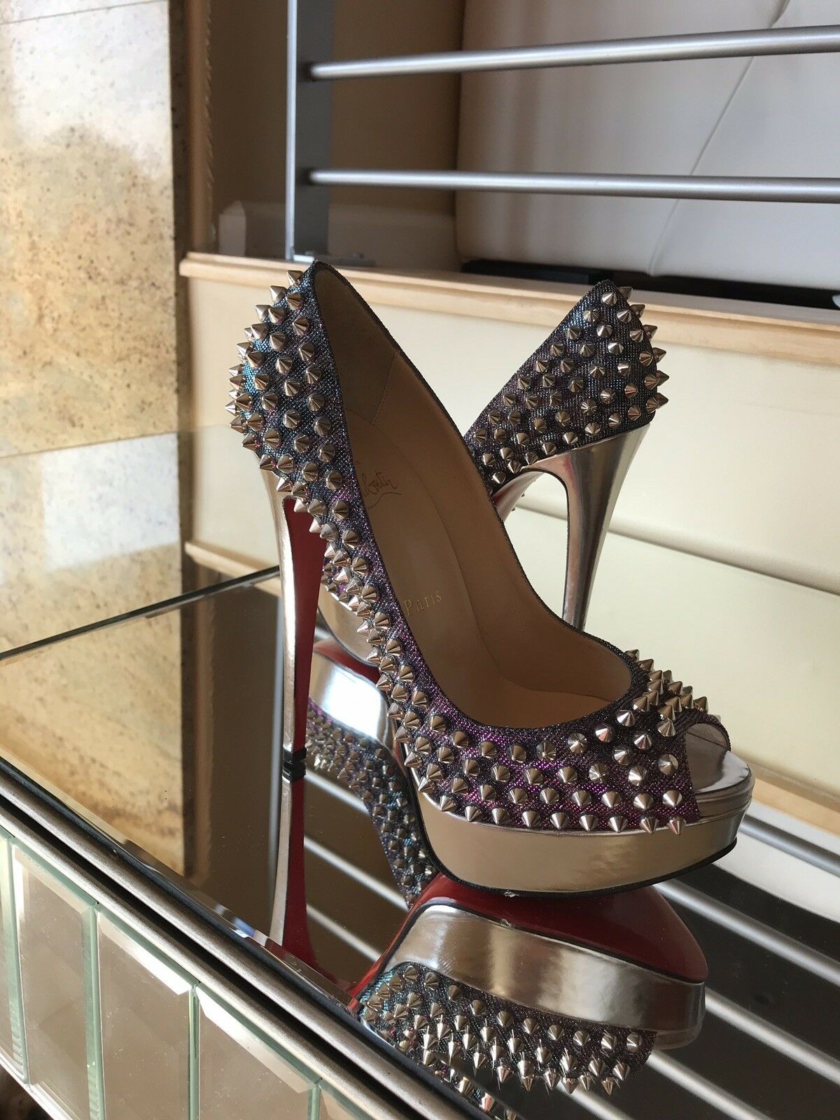 1800 NWOB Limited Addition Stud Silver Christian Christian Christian Louboutin 150mm Lady Peek 37.5 df9fee