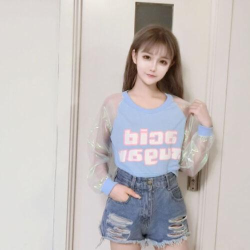Hologramm T-shirt Harajuku Lolita Laser Top Patchwork Damen Langarm Bauchfrei