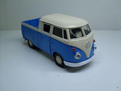 Neu Welly Auto Modell ca 1:34-1:38 VW T1 Doka blau//weiß