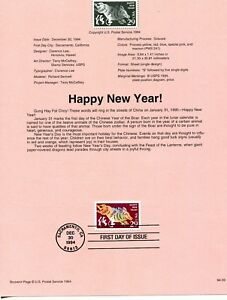 USPS-1994-First-Day-Issue-Souvenir-Page-Happy-New-Year-94-35