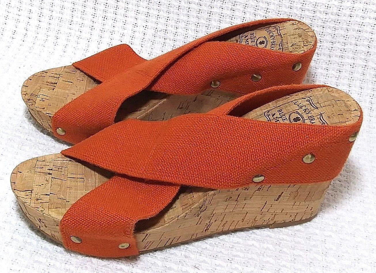Lucky Lucky Lucky Brand Talla 6.5 Sandalia De Cuña Zapato Abierto Miller corcho naranja Elástico Nuevo EU 36.5  contador genuino