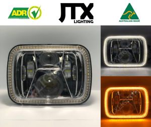 "1 Pair, Chrome LED JTX Headlights, 5x7"", White Halo, Flashes Amber, suits Hilux"