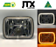 "thumbnail 1 - 1 Pair, Chrome LED JTX Headlights, 5x7"", White Halo, Flashes Amber, suits Hilux"