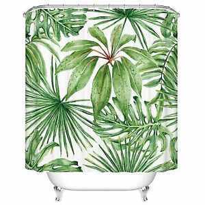 Buy Green Leaf Shower Curtains Tropical Palm Leaves Mildew Resistant