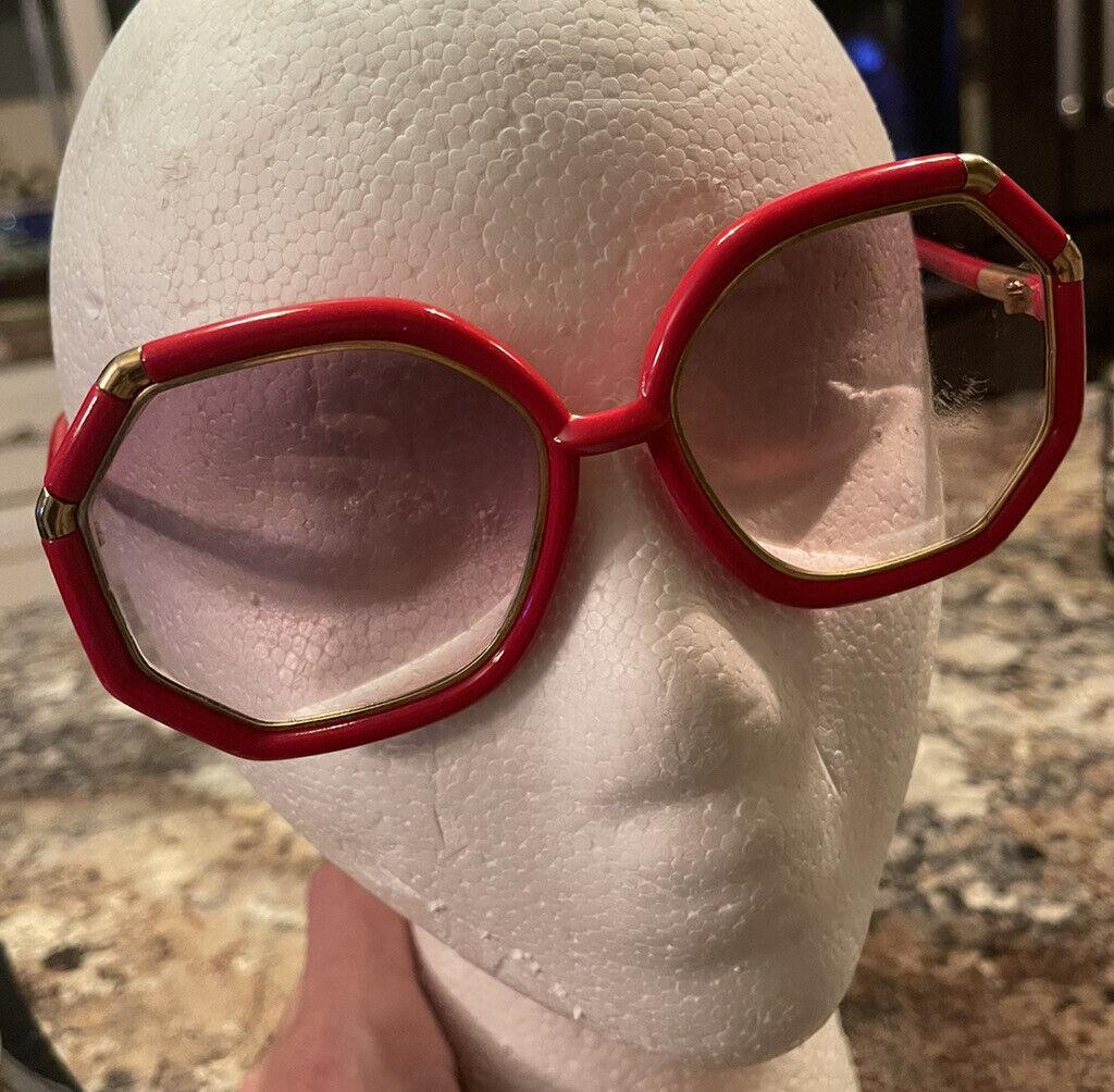 Vintage Ted Lapidus Sunglasses Octagonal Red Fram… - image 1