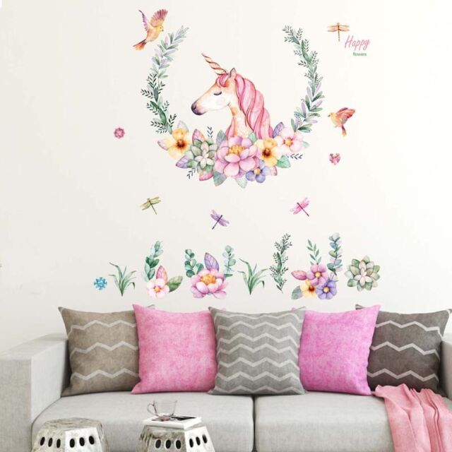 PVC Removable Cartoon DIY Horse Head Flowers Wall Sticker Decor Home Murals