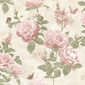 Rasch-Vintage-Rose-Floral-Wallpaper-Blush-Pink-Cream-Fabric-Effect-Chic-Flowers
