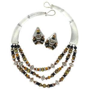 Hand-Cut-Nickel-With-Faux-Tortoise-Onyx-Beads-Necklace-And-Earrings