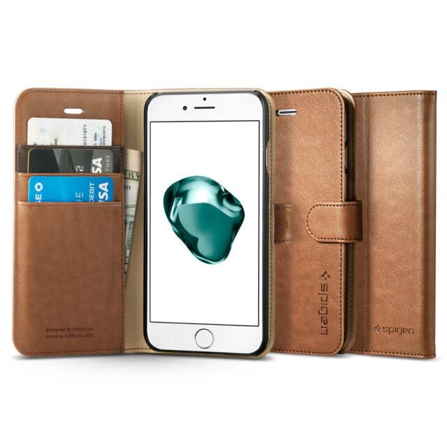 huge discount 6c4d4 b300a Spigen Wallet Case for iPhone 7 Kickstand Cover Brown 042cs20546