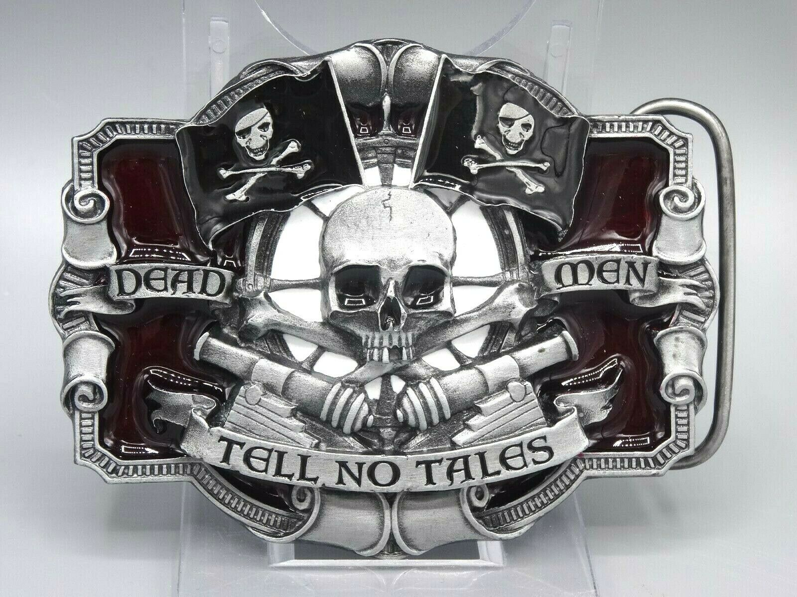 Gürtelschnalle Belt Buckle USA Death Men Tell no Tales Skull Biker Gürtel 4cm/A0