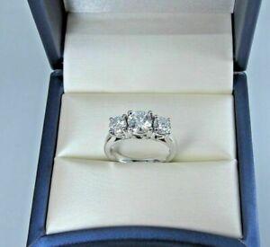 2-00-Ct-Round-Cut-Diamond-VVS1-D-3-Stone-Engagement-Ring-14K-White-Gold-FN