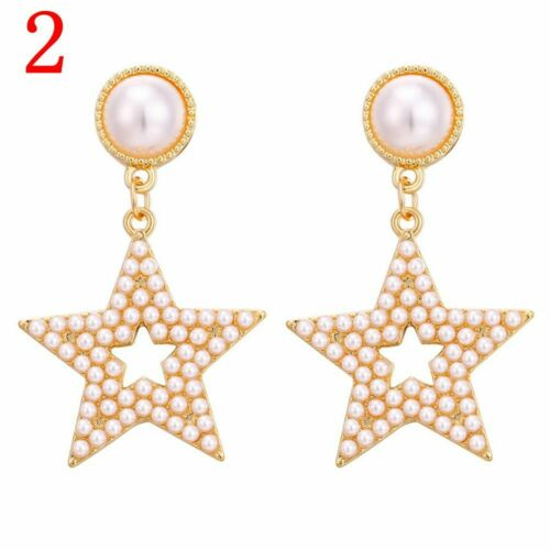 Gold Statement Pearl Earring Long Dangle Drop Herz //Kreis Stud der Ohren