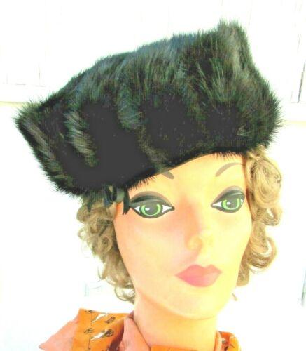Designed by LORA 60's Black Mink Fur Hat