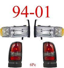 94 01 Dodge Ram 4Pc Head & Tail Light Set, Truck, W/ Parking Lights, New In Box!