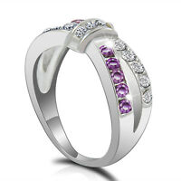 Cross Size 6-10 Purple Amethyst & CZ Criss Ring Band Black Gold Filled Jewelry