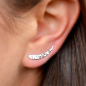 Simple-Minimalist-Sterling-Silver-925-Hammered-Ear-Climbers-Earrings