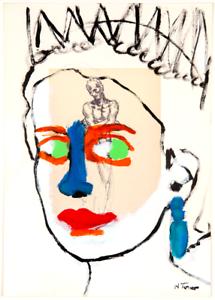 Queen-Elizabeth-Original-Painting-over-1927-Bourdelle-Drawing-Art-Neal-Turner