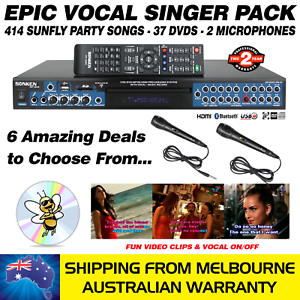 VOCAL-SINGER-MP4000-414-SUNFLY-SONGS-37-DVDS-2-MICS-KARAOKE-MACHINE