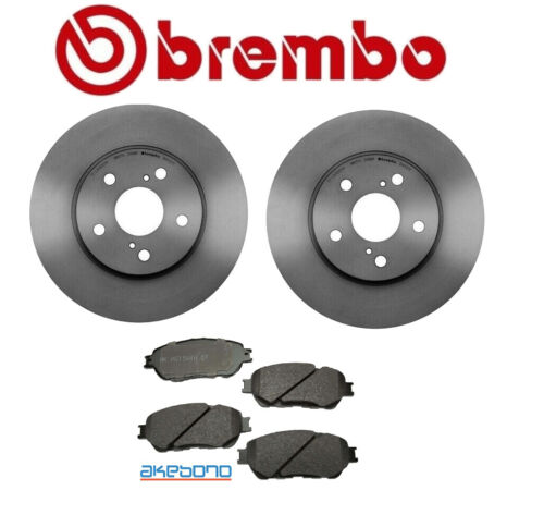 For Toyota Sienna 03-10 Front Left /& Right Rotors Pads Brake KIT Brembo//Akebono