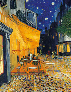 Leinwand-auf-Keilrahmen-NACHTCAFE-Van-Gogh-Cafe-at-Night-Bild-Keilrahmenbild-Neu