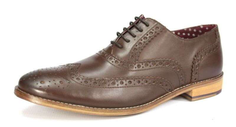 London Brogues Gatsby Brown Lace Up Brogues Mens Leather Round Toe Shoes