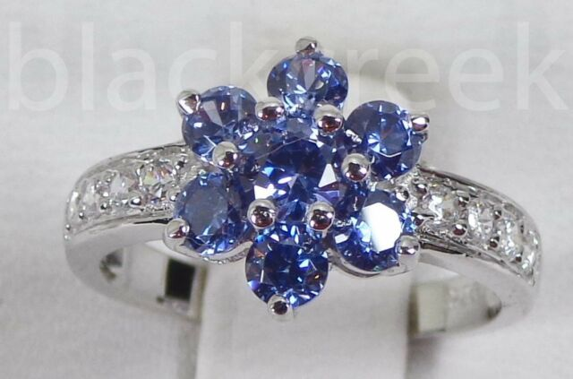 Tanzanite & White CZ ~ 925 Sterling Silver ~   Ring Sz 5/6/7/7.5/8/9/10