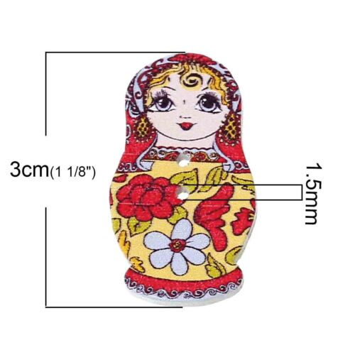 Pack de 10 bois buttons.fancy POUPEE RUSSE 30 x 15 mm Couture Artisanat Art