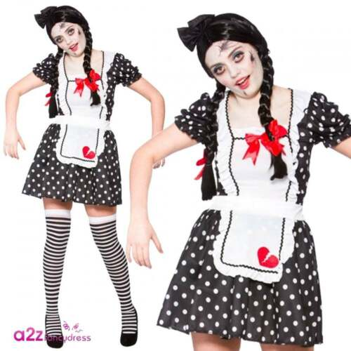 Womens Rag Doll Halloween Voodoo Zombie Dead Adult Ladies Fancy Dress Costume