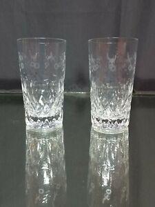 NEAR-MINT-Rogaska-Gallia-Highball-Crystal-Glasses-SIGNED-Set-of-Two-Tumbler