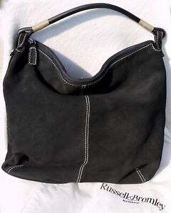 Russell-amp-Bromley-black-suede-large-tote-bag-Brand-New