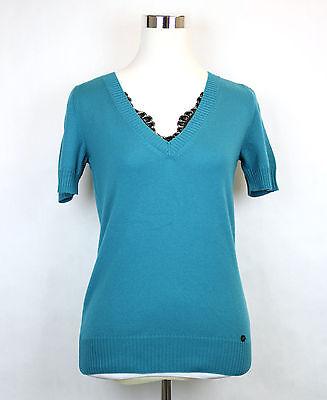 Maglione donna pullover maglia traforato pizzo scollo V elastico nuovo BL102
