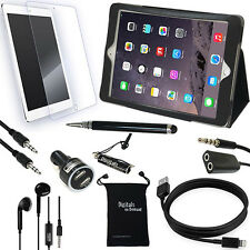 9-Item Accessory Bundle for Apple iPad Air 2 6th Gen - Leather Case, Chargers