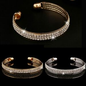 White-Women-Cubic-Zirconia-Jewelry-Full-Rhinestone-Open-Bangle-Cuff-Bracelet