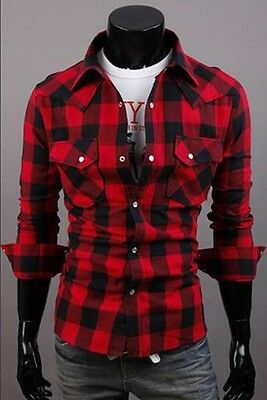 New Slim fit Fashion Casual Grid Long-sleeved shirt men's clothing