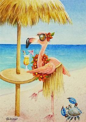ACEO Limited Edition Print Beach Babe Flamingo No 4 Bird Ocean Beach J Weiner