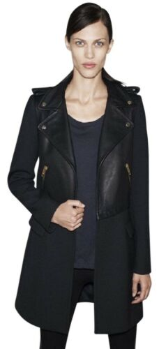 Zara Basic Black Real Leather Moto Biker Coat Jack